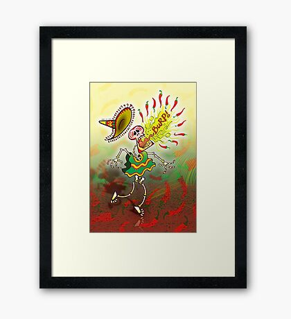 Mexican Skeleton Burping Hot Chili Peppers Framed Print