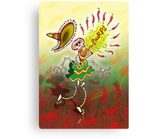 Mexican Skeleton Burping Hot Chili Peppers Canvas Print