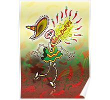 Mexican Skeleton Burping Hot Chili Peppers Poster