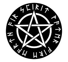 WICCA, Black, Pentacle, Pentagram, Witch, Wizard, Modern, Pagan, Witchcraft, Religion, Cult Photographic Print