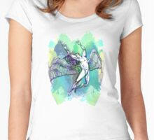 ICARUS THROWS THE HORNS - light watercolor paint splotches NEW DESIGN Women's Fitted Scoop T-Shirt