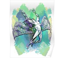 ICARUS THROWS THE HORNS - light watercolor paint splotches NEW DESIGN Poster