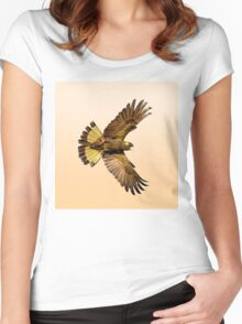 Yellwo Tailed Black Cockatoo in flight. Women's Fitted Scoop T-Shirt