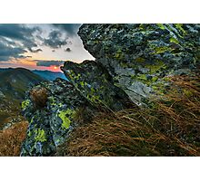Mountain range at sunset Photographic Print