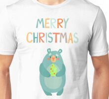 Wild bear with Christmas tree. Unisex T-Shirt