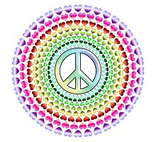 PEACE, LOVE, MANDALA, GROOVY, Hippy, Ban the Bomb Photographic Print
