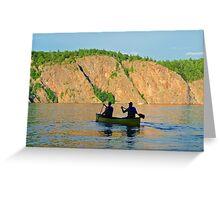 Im Kanu dem Sonnenuntergang entgegen Greeting Card