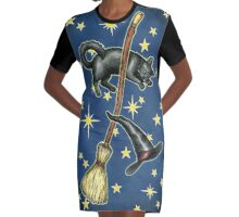 Everyday Witch Tarot - Back of Card Design Graphic T-Shirt Dress