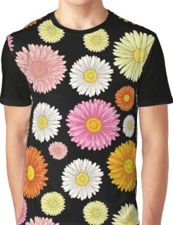 Pink and Yellow Daisy Pattern Graphic T-Shirt