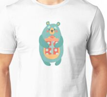 Wild bear with Christmas gift. Unisex T-Shirt