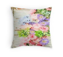 water color,hand painted, roses,peonies,pink,purple,lavender,green,beige,on rustic wood wall, modern,trendy,elegant Throw Pillow