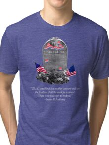 "Memorial to the 19th Amendment: Susan B. Anthony Headstone with ""I Voted"" Stickers Tri-blend T-Shirt"