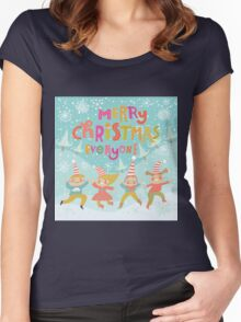 Merry christmas,whimsical,x-mas,christmas,,cute, kid,kids,pattern,fun,happy,teal,snow,kids dancing Women's Fitted Scoop T-Shirt