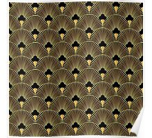 Art deco, fan pattern, vintage,1920 era, gold,black,elegant,chic,The Great Gatsby,modern,trendy,girly Poster
