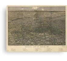 Vintage Pictorial Map of Denver Colorado (1887) Canvas Print