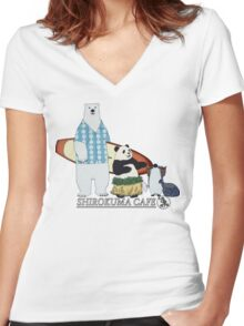 Shirokuma Cafe Women's Fitted V-Neck T-Shirt