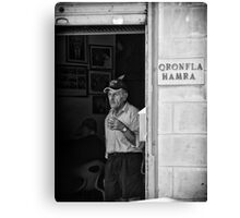At Qronfla Hamra - Malta Street Photography in Monochrome Canvas Print