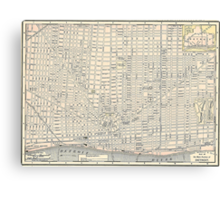Vintage Map of Detroit (1895) Canvas Print