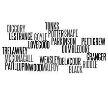 Harry Potter Last Names Photographic Print