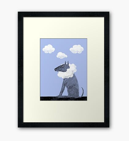 Head in Clouds Dreamer Dog Framed Print