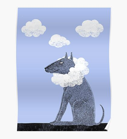 Head in Clouds Dreamer Dog Poster
