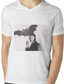 Original Charcoal Drawing of Vincent Price in The Bat Mens V-Neck T-Shirt