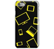 pattern with smart gadgets on black iPhone Case/Skin