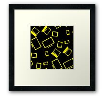 pattern with smart gadgets on black Framed Print
