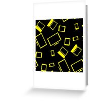 pattern with smart gadgets on black Greeting Card