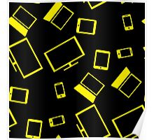pattern with smart gadgets on black Poster