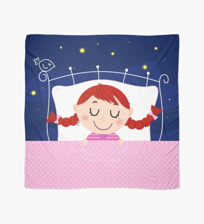 Cute sleeping Girl in Bed : Designers illustration art edition 2016 Scarf