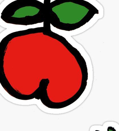fröhlicher Apfel rot grün Sticker