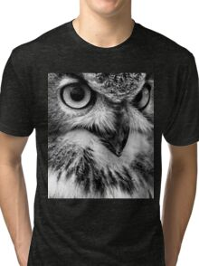 Black and White Owl Portrait Tri-blend T-Shirt