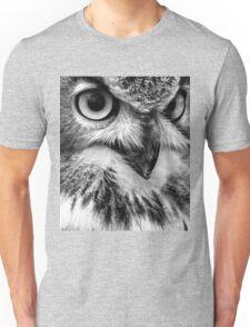 Black and White Owl Portrait Unisex T-Shirt