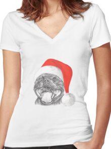 Staffie Smile Christmas - Staffordshire Bull Terrier Women's Fitted V-Neck T-Shirt