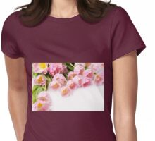 Tulipa Crispa Hamilton pink tulips bouquet  Womens Fitted T-Shirt