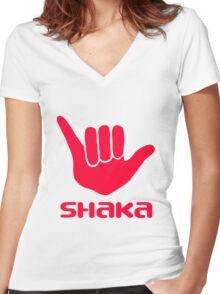 Shaka PINK Women's Fitted V-Neck T-Shirt