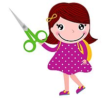 Little gIrl elegant designers edition. Girl with Scissors. Unique collection 2016 Photographic Print