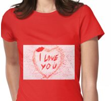 I love you heart stained Womens Fitted T-Shirt