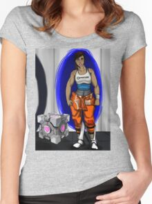Chell and Her Companion Cube Women's Fitted Scoop T-Shirt