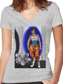 Chell and Her Companion Cube Women's Fitted V-Neck T-Shirt