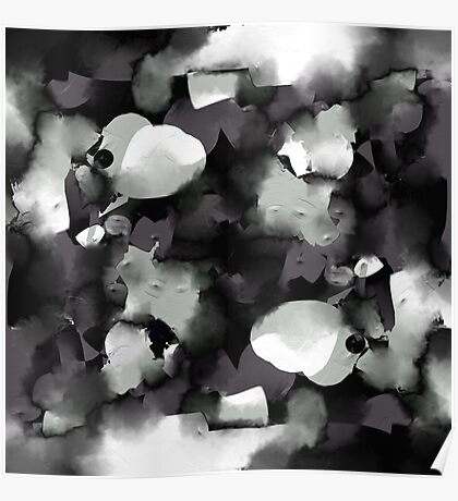 Raw Paint 2 - Black and White Poster