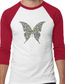 Butterfly Psycedelic Illustration Colorful Cool Retro Vintage Hippie Natural Nature T-Shirts Men's Baseball ¾ T-Shirt
