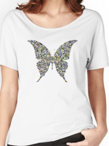 Butterfly Psycedelic Illustration Colorful Cool Retro Vintage Hippie Natural Nature T-Shirts Women's Relaxed Fit T-Shirt