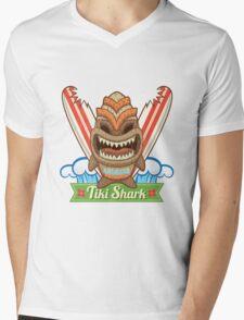 Tiki Shark Mens V-Neck T-Shirt