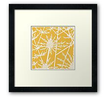 Sea hollies on a buttercup background Framed Print