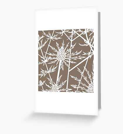 Paper art - Sea hollies on beige background Greeting Card