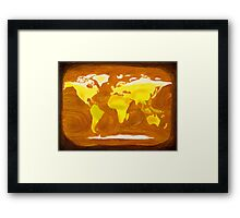 Map-World Map with Ocean Currents and Landscape Framed Print