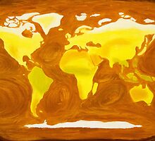 Map-World Map with Ocean Currents and Landscape by Gwynith Lee