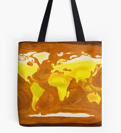 Map-World Map with Ocean Currents and Landscape Tote Bag
